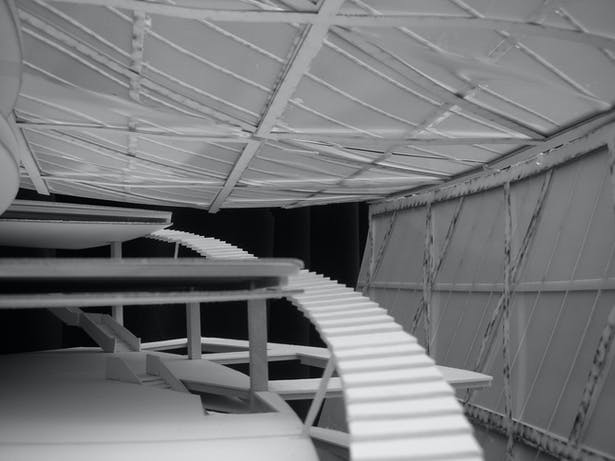 project model showing continuous stair circulation connecting museum exhibition terraces