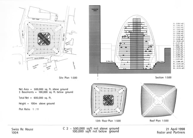 This schematic design from spring 1998 envisions 30 St Mary Axe as an adaptation of the Climatroffice, with staggered floorplates set within a curving steel-and-glass enclosure. Foster + Partners, Swiss Re House 1004, Progress Report, 21 April 1998, 1998. Courtesy of Foster + Partners.