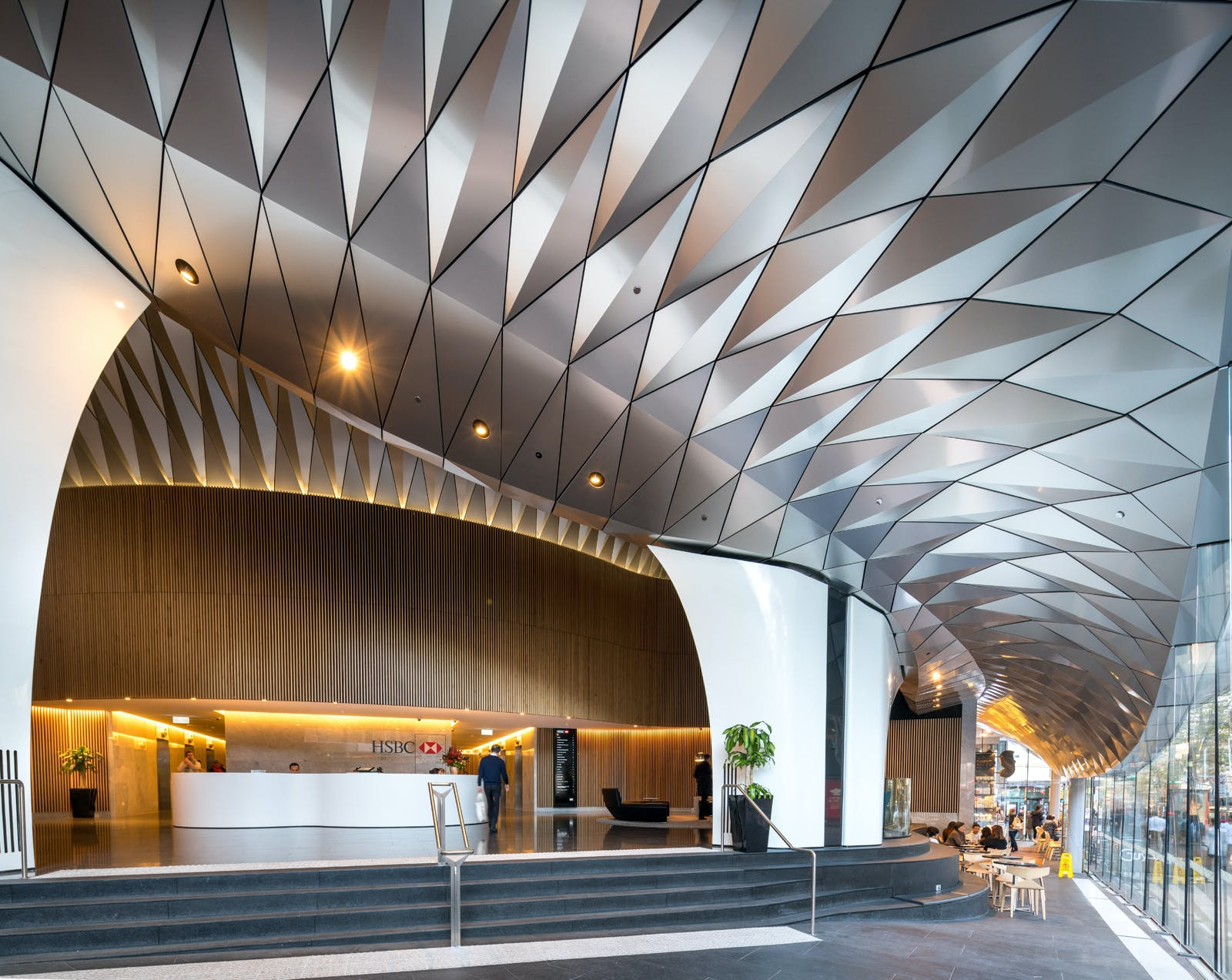 Architects Design Incredible Serpentine Awning With Diamond Shaped AlucobondR PLUS Panels