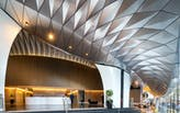 Architects Design Incredible Serpentine Awning With Diamond Shaped Alucobond® PLUS Panels