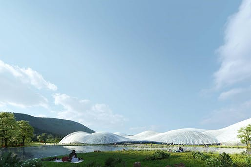 Rendering of SANAA's winning 'Clouds on the Sea' entry for the new Shenzhen Maritime Museum. Image: SD-Agencies.