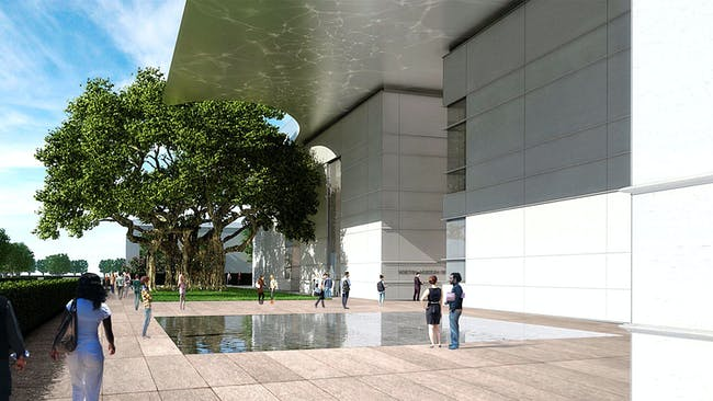 Norton Museum of Art Heyman Plaza, northern view, designed by Foster + Partners. (Image courtesy of Foster + Partners)