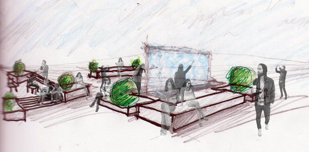 Conceptual presentation for the central water wall feature