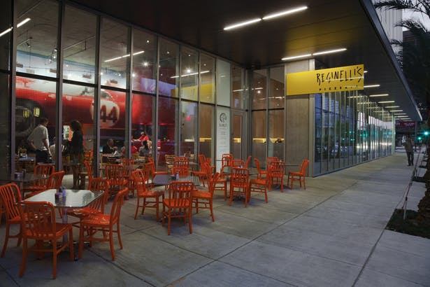 Street level retail space, including Reginelli's pizza, Jamba Juice, and Ste. Marie Restuarant.