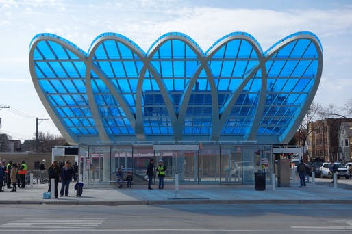 Sculptures/Art Installations/Non-Building Structures - Merit: Belmont Gateway Canopy - Chicago Transit Authority, Chicago. Structural engineers: EXP + Simpson Gumpertz & Heger. Architect: Ross Barney Architects. Photo: Ross Barney Architects.