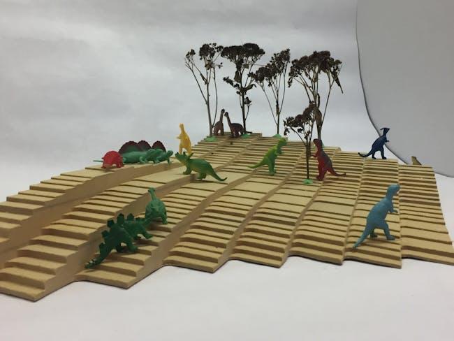 'Representation vs. Fabrication' (model with dinos) via Mitch McEwen