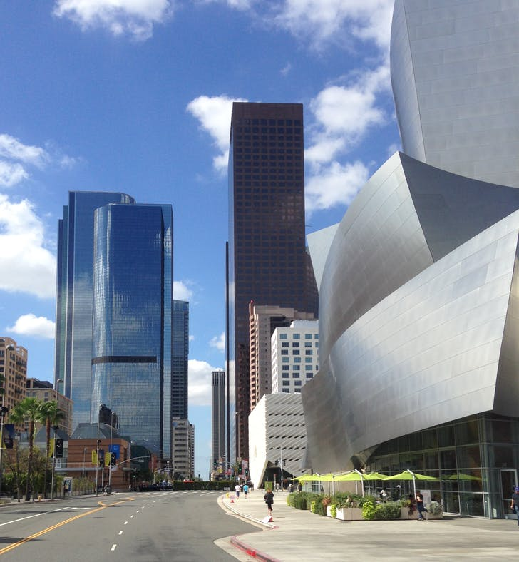 On Grand Avenue looking south, with views of Walt Disney Concert Hall and The Broad. Photo by Amelia Taylor-Hochberg.