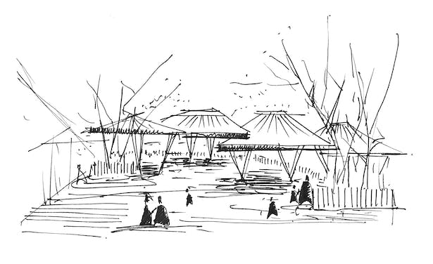 Sketch of the huts at the entrance plaza