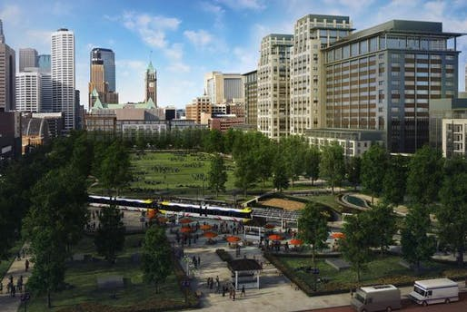 A 2013 rendering of the Downtown East development when its completed. The Commons park in the center of the site was previously known as The Yard. (via bizjournals.com)