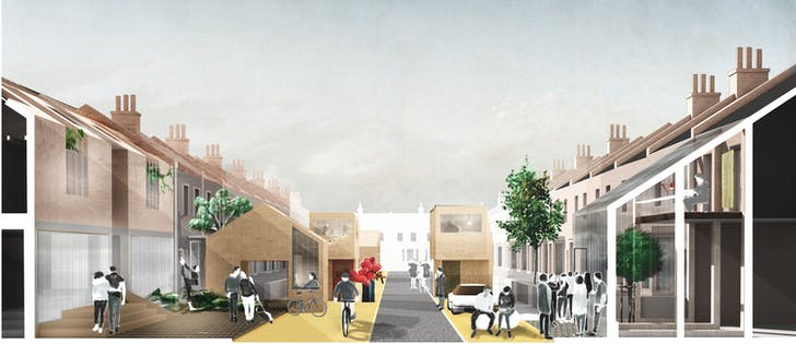 A view of a reinterpreted suburban street, part of the low-rise proposal, which fragments 'the home into a series of activities across a walking distance block.' Credit: ED/GY