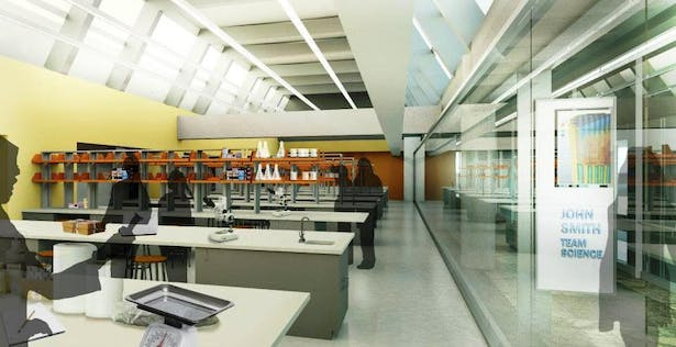 Third Floor laboratories organized under existing end to end clerestory windows to allow daylight.