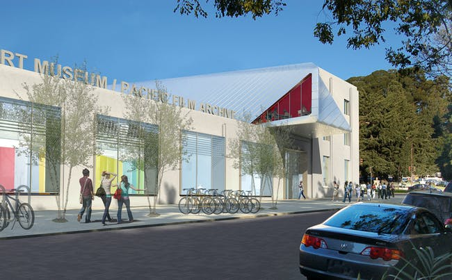 Rendering of the new UC Berkeley Art Museum and Pac ific Film Archive (BAM/PFA), designed by Diller Scofidio + Renfro. View of the Center Street façade, including main entrance. Courtesy of the Regents of University of California.