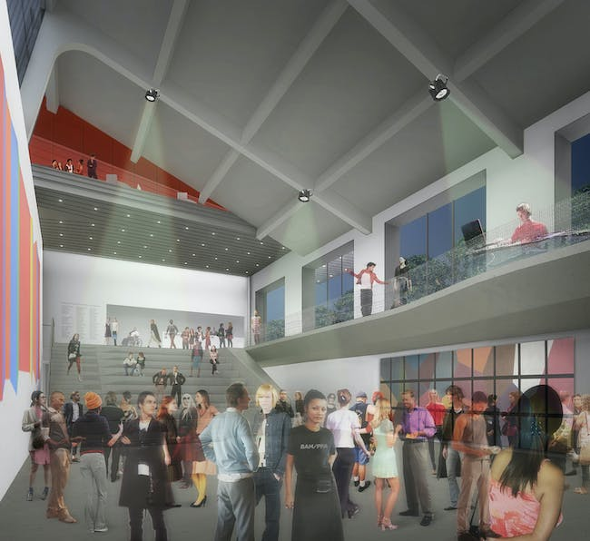 Rendering of the new UC Berkeley Art Museum and Pacific Film Archive (BAM/PFA), designed by Diller Scofidio + Renfro. View of the multi-purpose gallery space and forum. Courtesy of the Regents of University of California.