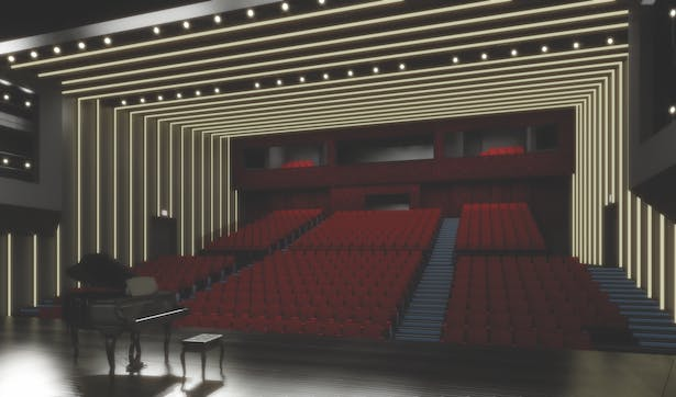view toward the auditorium, 3D rendering