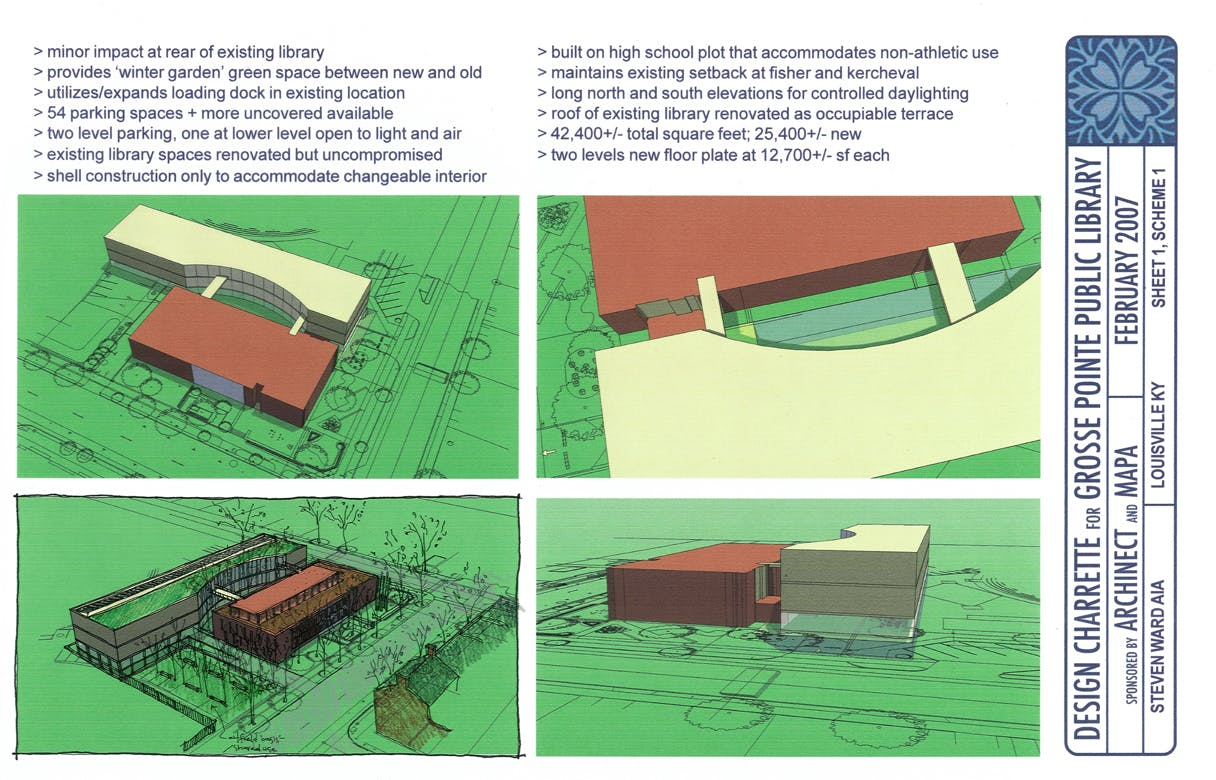 grosse pointe public library proposal steven ward archinect