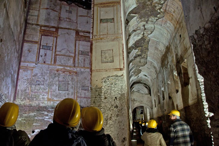 The interior of the Domus Aurea, Emperor Nero's house of entertainments, during a contemporary tour. Image: revealedrome.com.