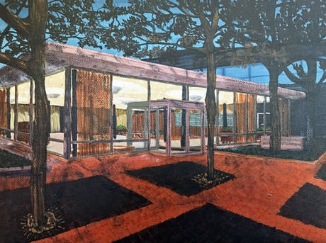 With Exhibit Columbus getting close, why not celebrate some of Saarinen's work? Here is his Irwin Union Bank, in painting form.