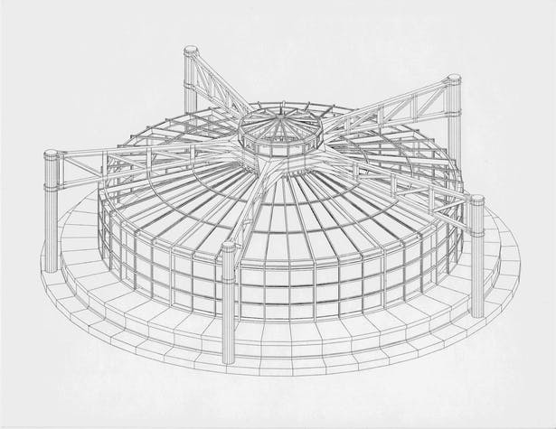 3D CAD model of rotunda View 1