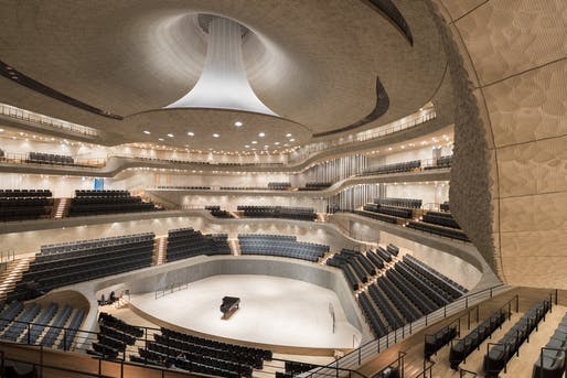 Sensuous design: the central concert hall of Herzog & De Meuron's new Elbphilharmonie Hamburg. Photo: Iwan Baan.