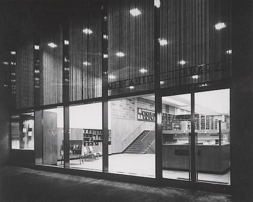 Exterior evening view of the former Mercantile Library on Chestnut St., Philadelphia, 1953. Image: Free Library of Philadelphia.