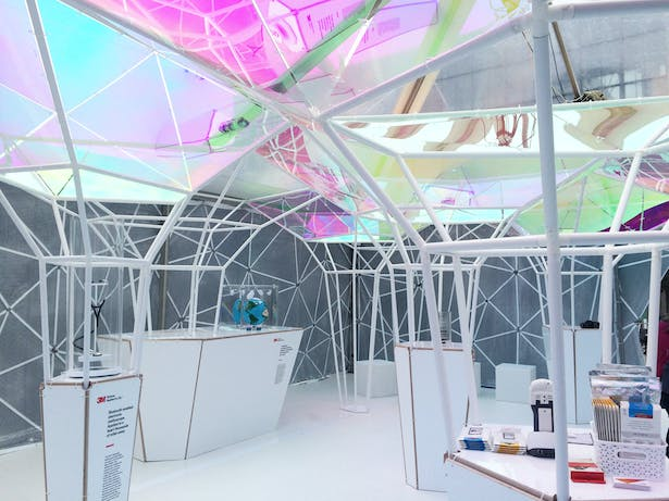 The pavilion not only showcased 3M products, but was made using materials developed by 3M
