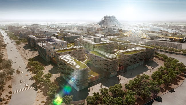 A view of green Expo Village. Image: HOK