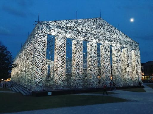 The Parthenon of Books taking shape in Kassel. Photo by lctanner