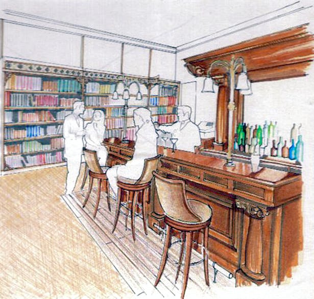 Proposal for a library/bar in Melville Castle Hotel - Competition.