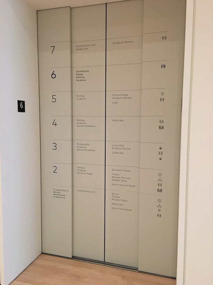 The informative elevator doors; photo: Julia Ingalls.