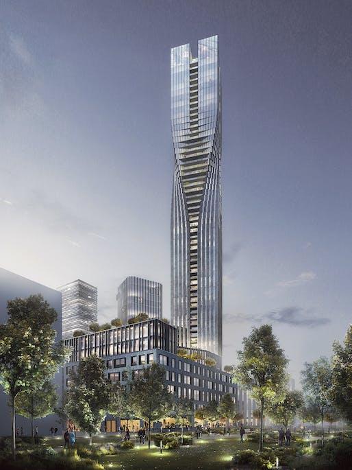 SOM and Entasis' winning design for the Polestar Tower in Gothenburg, Sweden. Image courtesy of SOM.
