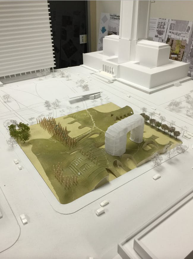 A model of the park proposal by Eric Owen Moss Architects. Credit: Eric Owen Moss Architects via City of Los Angeles