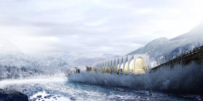 BIG's winning proposal for the new San Pellegrino Flagship Factory in San Pellegrino Terme, Bergamo, Italy. Image courtesy of BIG.