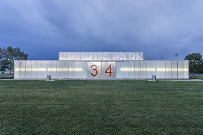 John Fry Sports Park Pavilion in Edmonton, Canada by the marc boutin architectural collaborative; Photo: Bruce Edward of Yellow Camera