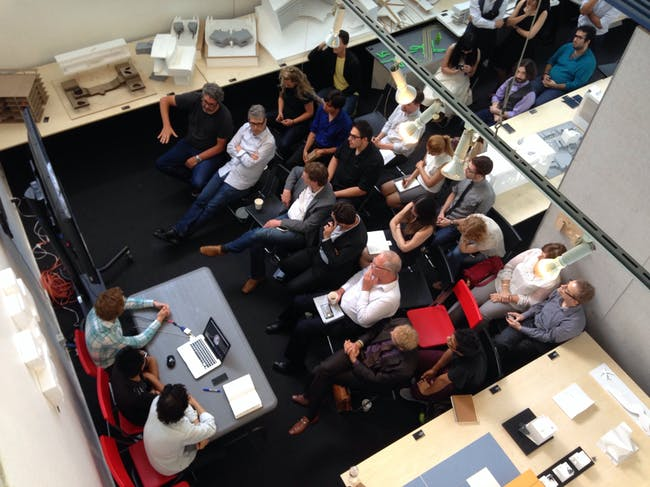Greg Lynn's 'Super Aero Robo Spatial' studio presentation. Photo: Amelia Taylor-Hochberg.