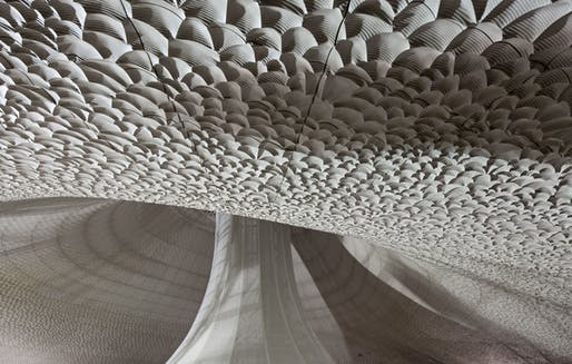 Close-up of the central auditorium's parametric acoustic panels. Photo: Oliver Heissner.