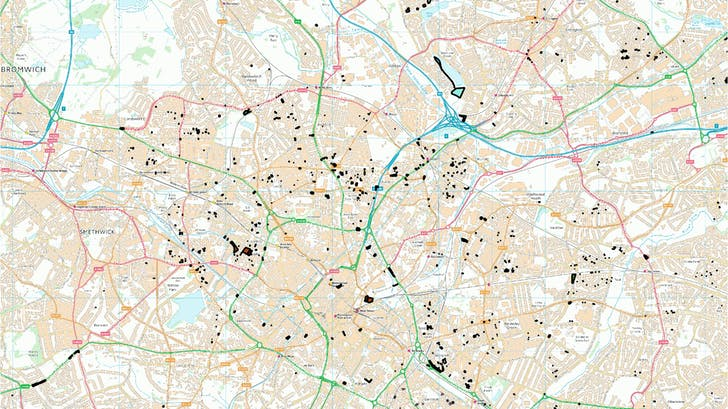 Marginal & infill sites (map shows the 14 hectares of marginal council sites Birmingham). Image courtesy of WikiHouse.