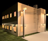 small office building night rendering