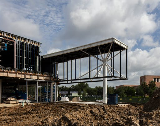 Construction of Moody Center for the Arts at Rice University in Houston, TX with Michael Maltzan Architecture. Photo: Richard Barnes.