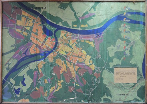 Urban Planning Institute of Belgrade. Belgrade Master Plan. 1949–50. Belgrade, Serbia. Plan 1:10000. 1951. Ink and tempera on diazotype, 64 9/16 x 9 3/4″ (164 x 233 cm). Urban Planning Institute of Belgrade.