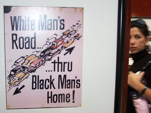 "Historical ""White Man's Road ... thru Black Man's Home!"" highway revolt poster. (Photo: Richard Layman/Flickr)"