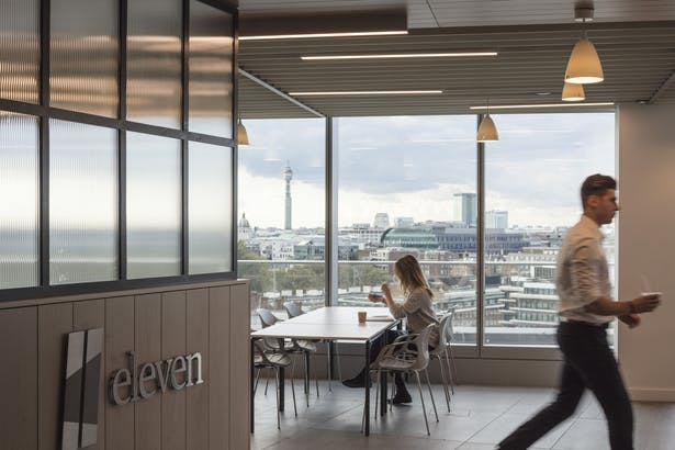 The agile ready open-plan work environment has spectacular, panoramic views over the City of London