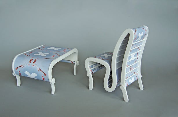 The patterned table and chair.