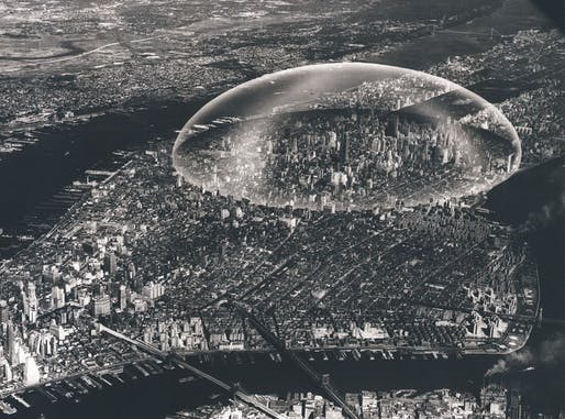 Buckminster Fuller, Dome Over Manhattan, 1960. Black and white photograph on board with dome overlay, 12.75in x 18.38in. Courtesy The Estate of R. Buckminster Fuller