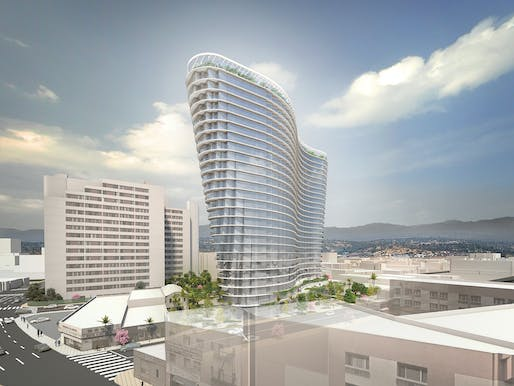Chinatown high-rise in Los Angeles rendering by Studio Gang. Image: Studio Gang.