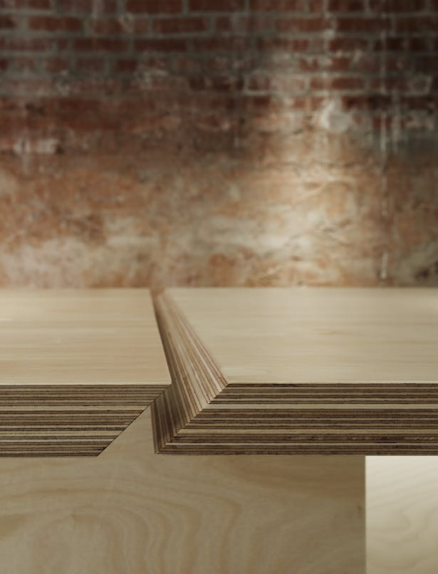 Baltic Birch slabs celebrate the construction joint.