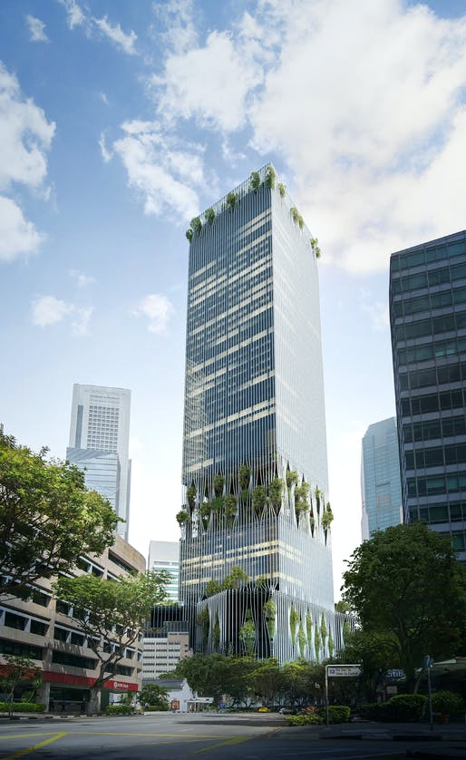 A new 280-meter-tall tower in Singapore by BIG + Carlo Ratti Associati. Image credit: BIG + VMW.