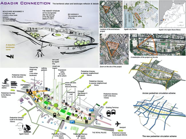 3rd 'Next Generation' Prize: Culturally-sensitive urban master plan, Agadir, Morocco by Khalid El Jaouhari, ENA Rabat National School of Architecture, Morocco: Give priority to pedestrians, create a pole of attraction. Making the high landscape curve a promenade, the end of it is crowned by the architectural project.