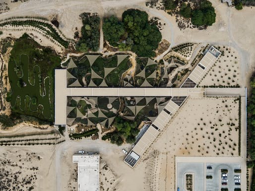 Bird's eye view of the Visitor Centre, Wasit Wetland Centre, Sharjah, United Arab Emirates. Image credit: X-Architects / Nelson Garrido.