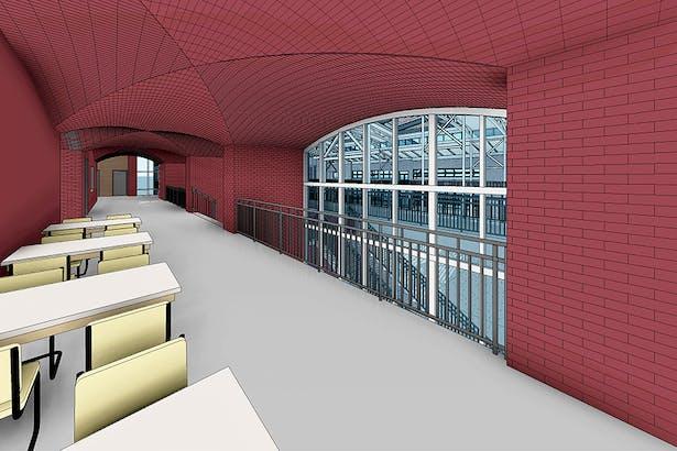 Interior Central Atrium with vaulted brick ceiling