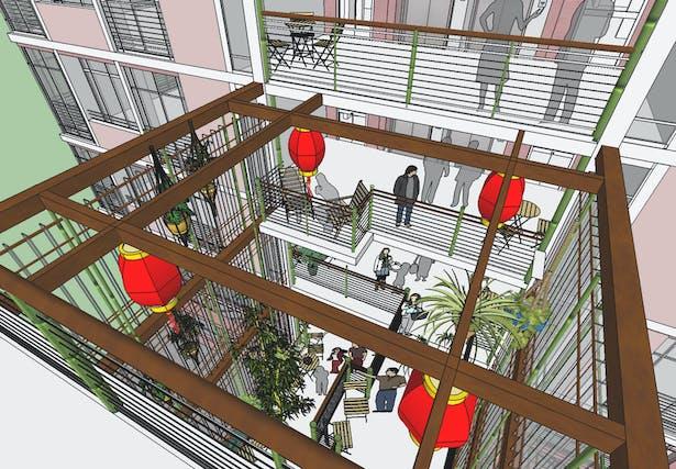 Each exterior courtyard module has a view of 4 floors